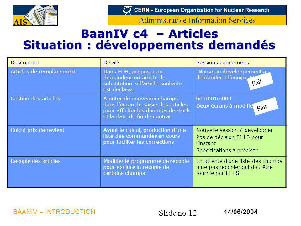 BaanIV c4 – Articles Situation : développements demandés