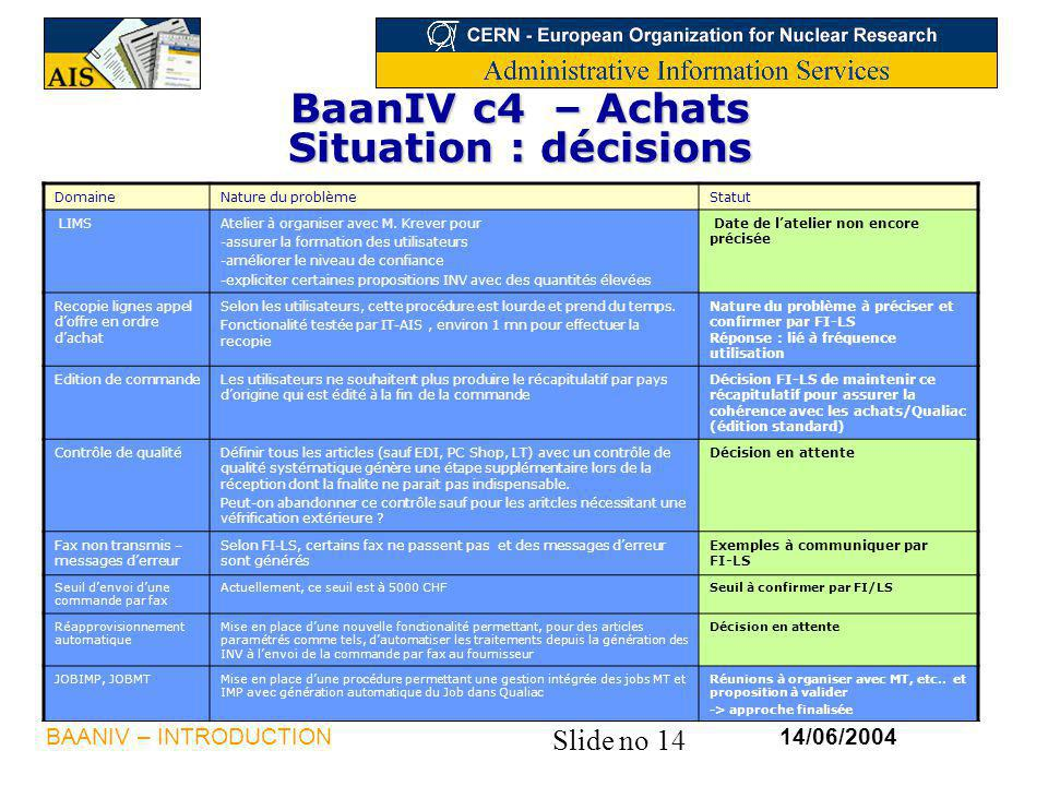 BaanIV c4 – Achats Situation : décisions