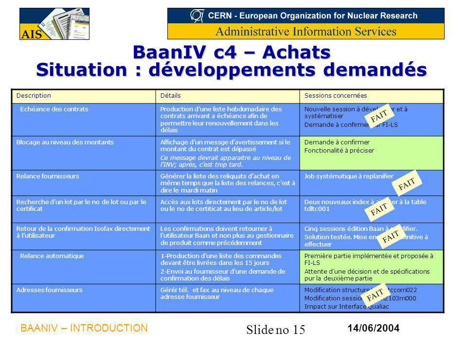 BaanIV c4 – Achats Situation : développements demandés