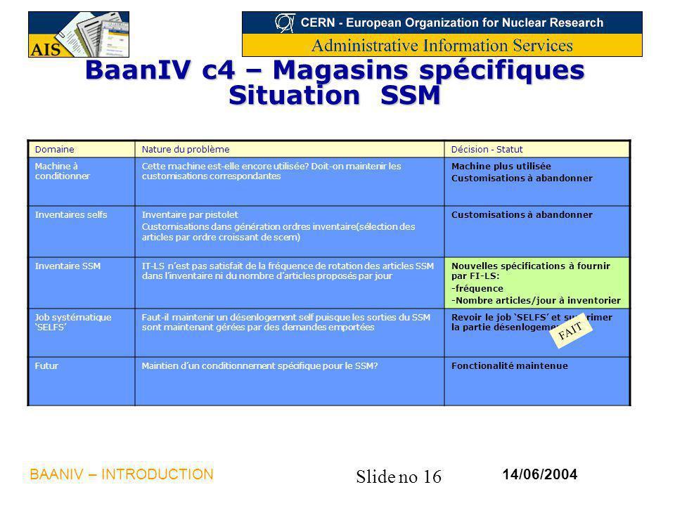 BaanIV c4 – Magasins spécifiques Situation SSM