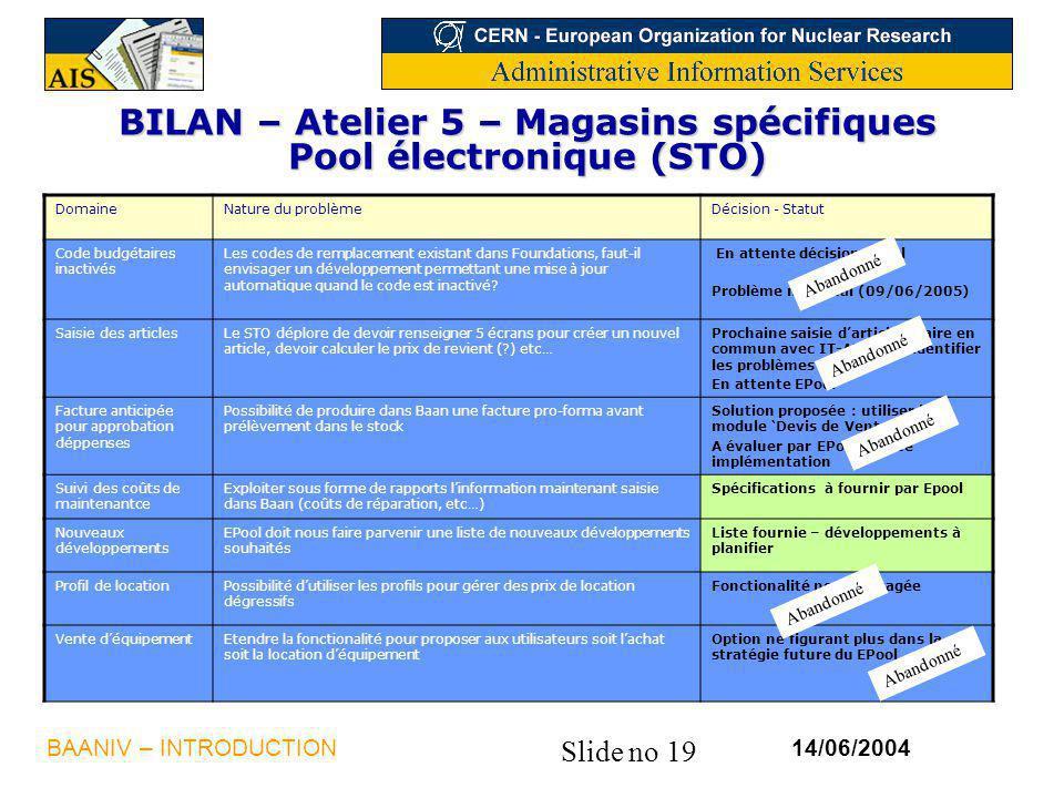 BILAN – Atelier 5 – Magasins spécifiques Pool électronique (STO)