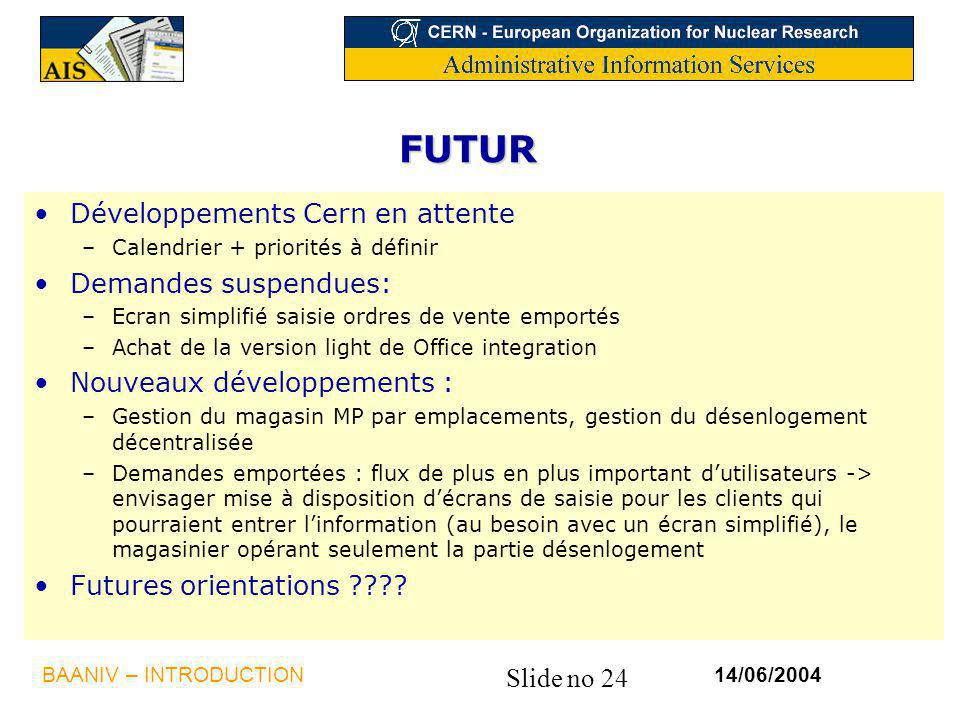 FUTUR Développements Cern en attente Demandes suspendues: