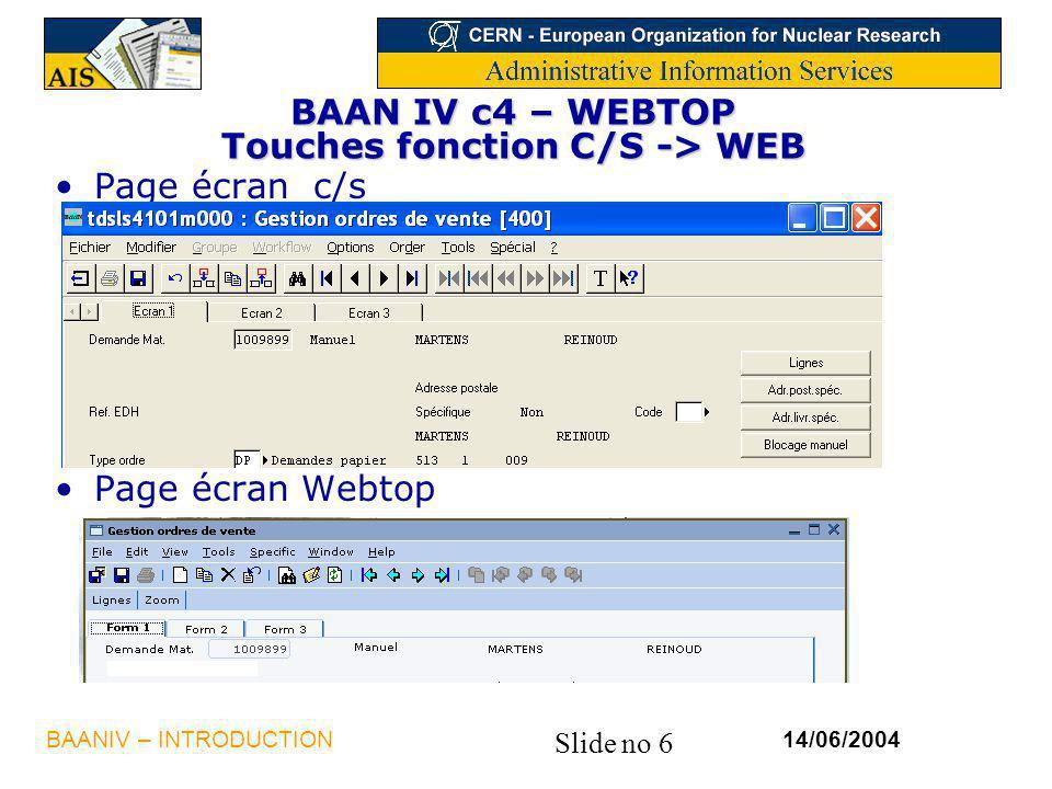 BAAN IV c4 – WEBTOP Touches fonction C/S -> WEB