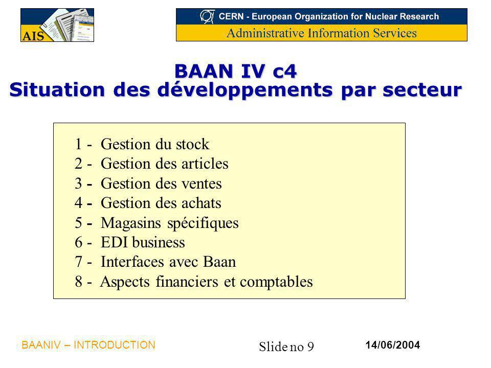 BAAN IV c4 Situation des développements par secteur