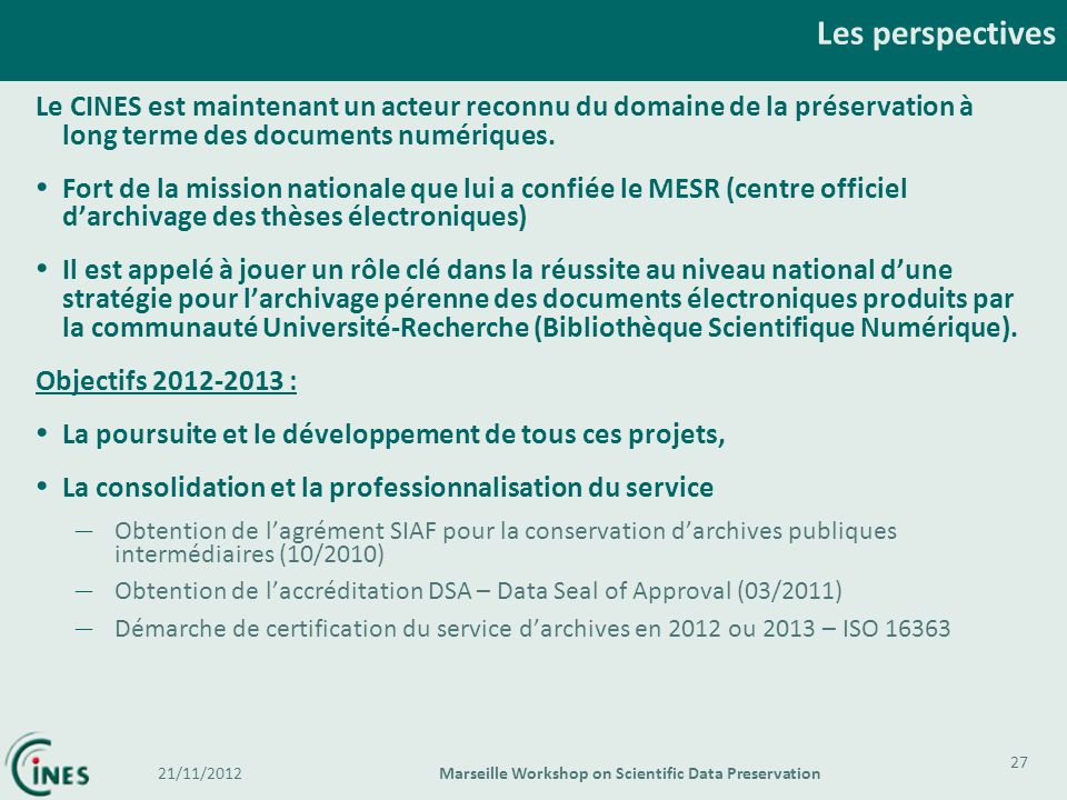 Marseille Workshop on Scientific Data Preservation