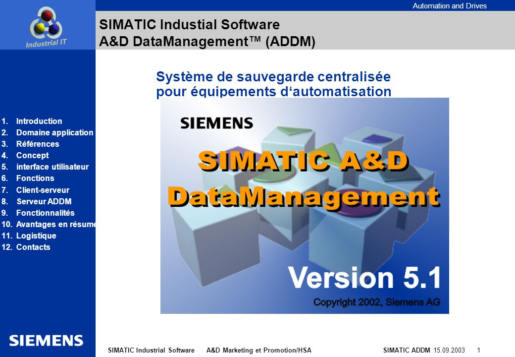 SIMATIC Industial Software A&D DataManagement™ (ADDM)