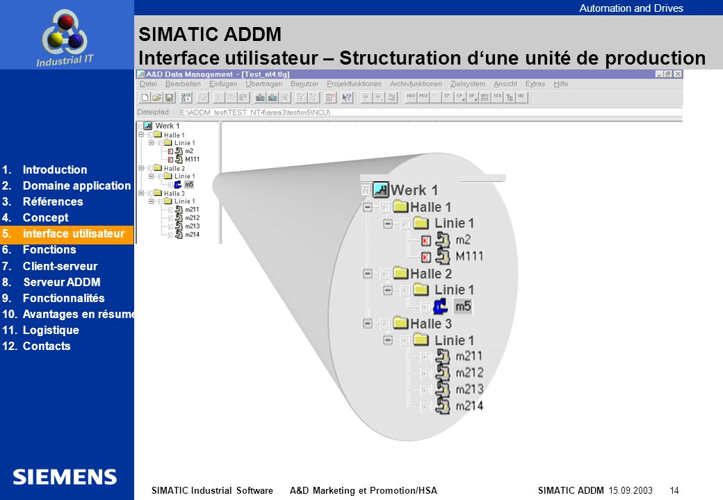 SIMATIC ADDM Interface utilisateur – Structuration d'une unité de production