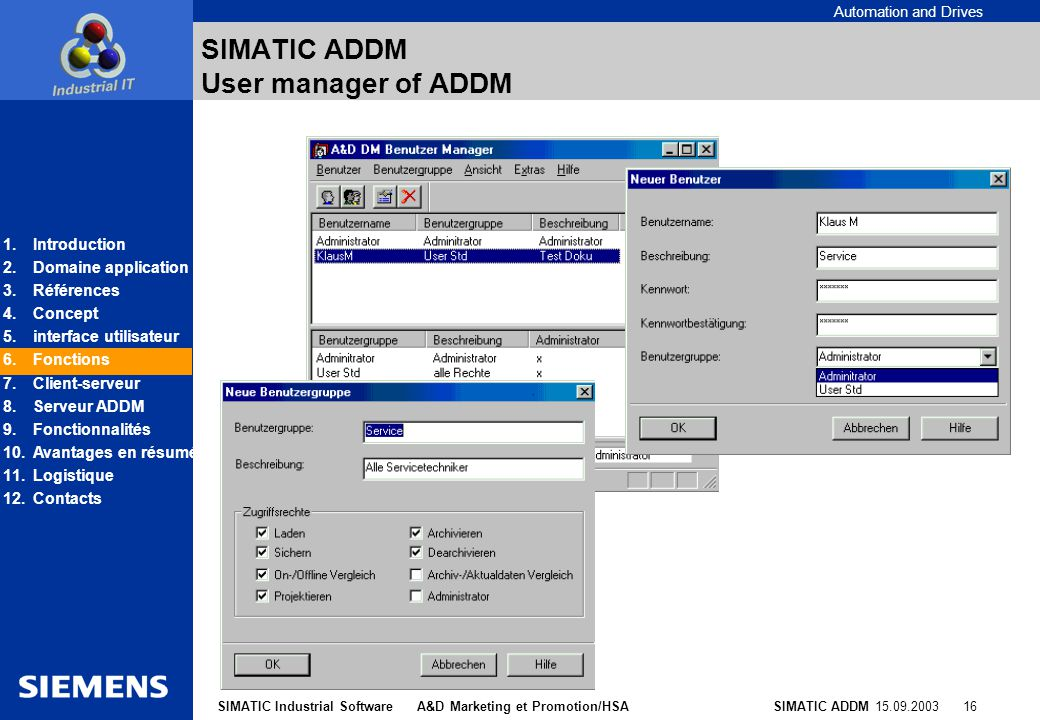 SIMATIC ADDM User manager of ADDM