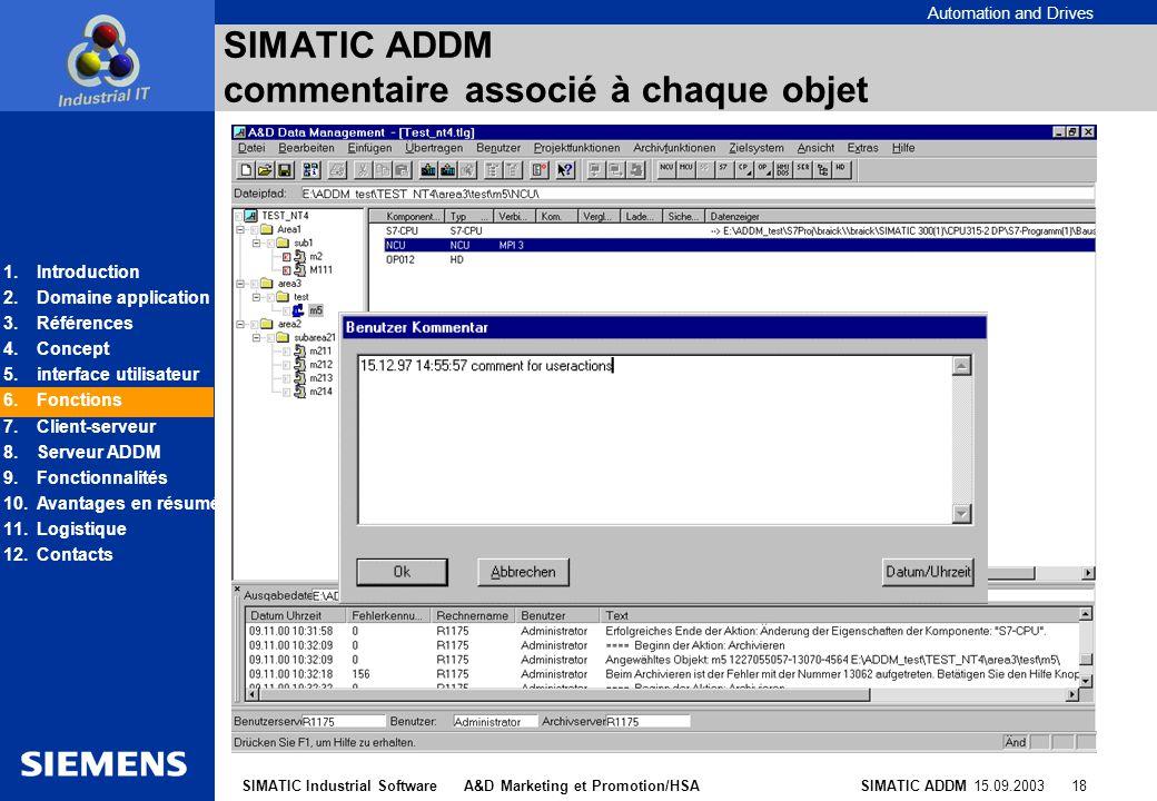 SIMATIC ADDM commentaire associé à chaque objet