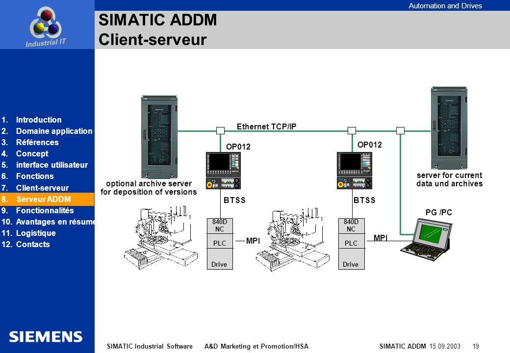 SIMATIC ADDM Client-serveur