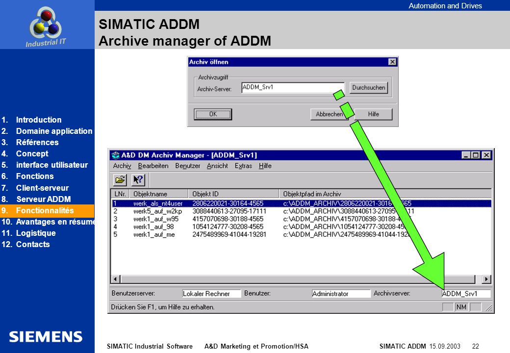 SIMATIC ADDM Archive manager of ADDM