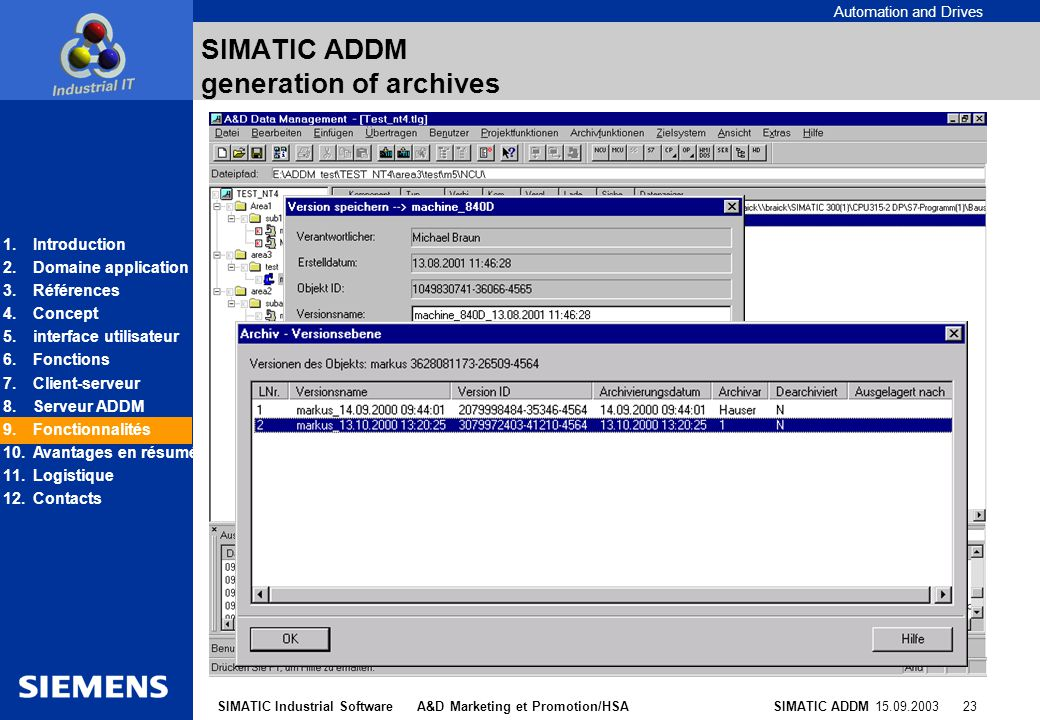SIMATIC ADDM generation of archives