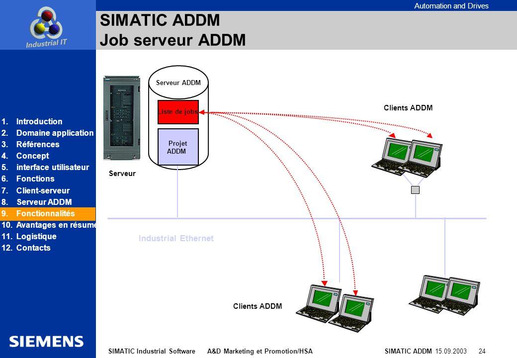 SIMATIC ADDM Job serveur ADDM