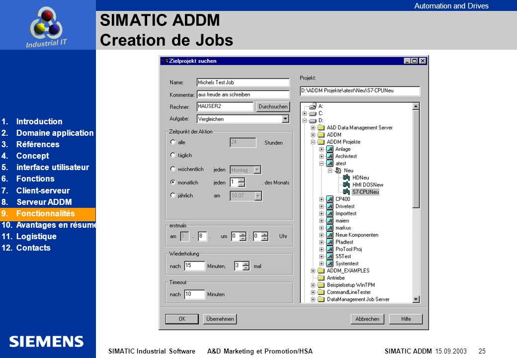 SIMATIC ADDM Creation de Jobs