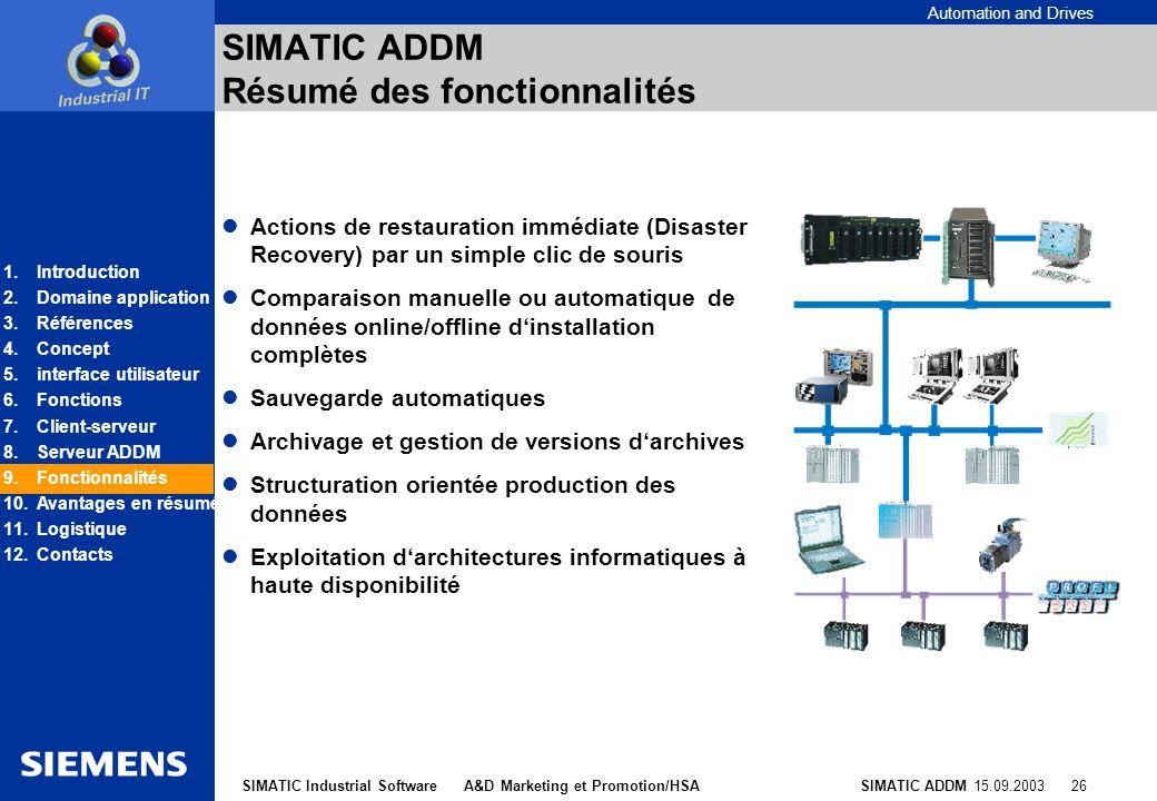 SIMATIC ADDM Résumé des fonctionnalités