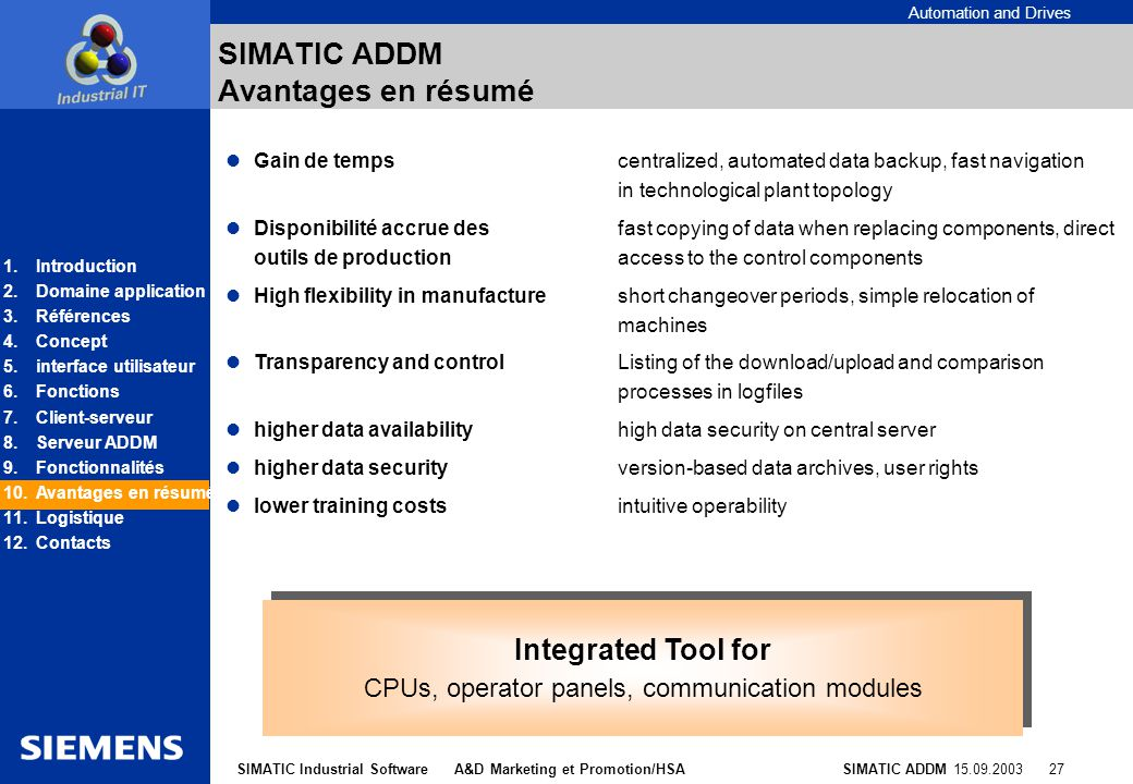 SIMATIC ADDM Avantages en résumé