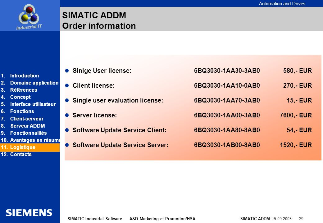 SIMATIC ADDM Order information