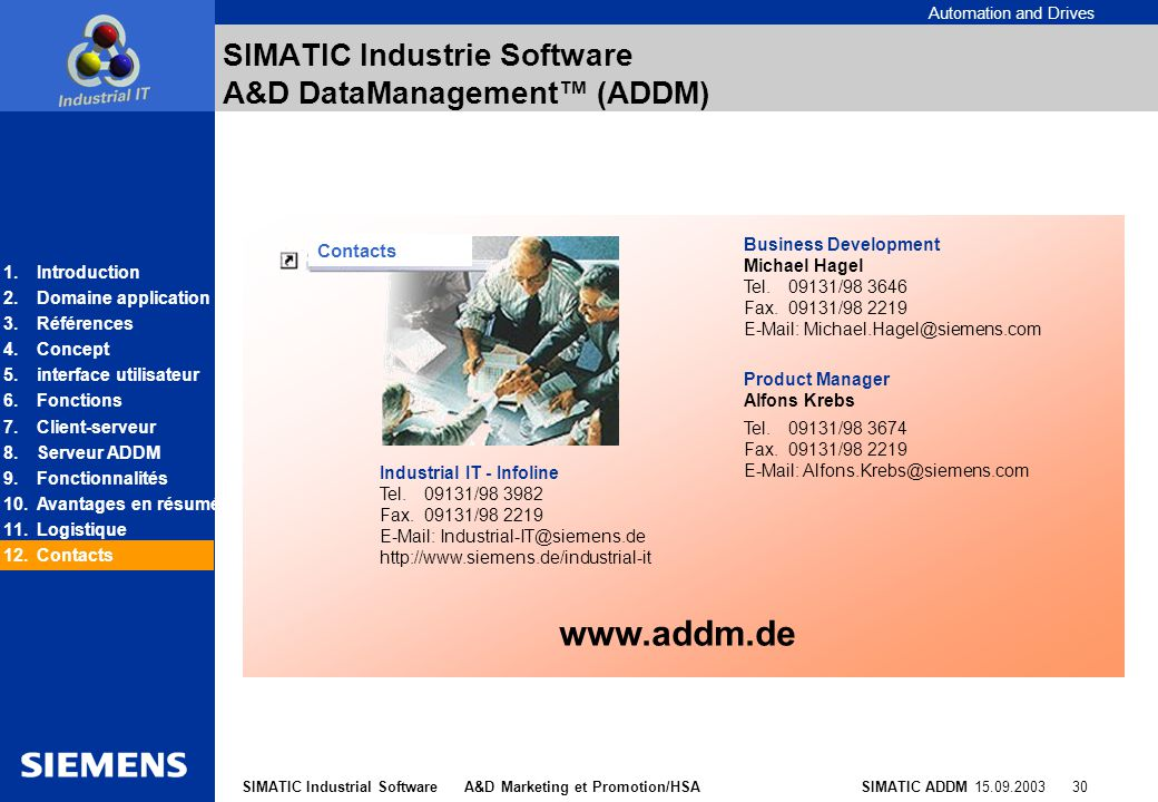 SIMATIC Industrie Software A&D DataManagement™ (ADDM)
