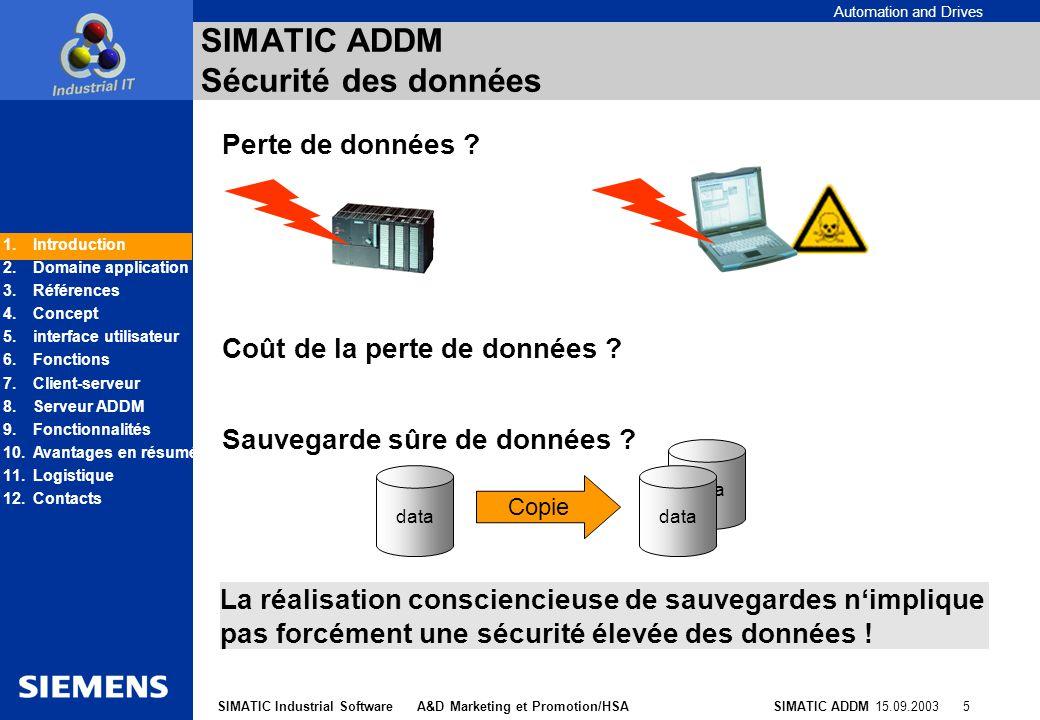 SIMATIC ADDM Sécurité des données