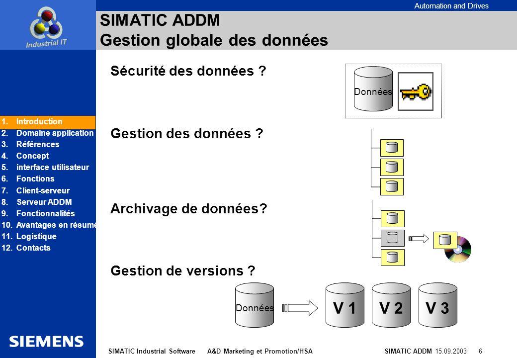 SIMATIC ADDM Gestion globale des données