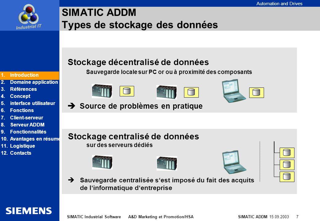 SIMATIC ADDM Types de stockage des données