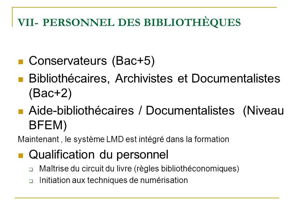 VII- PERSONNEL DES BIBLIOTHÈQUES