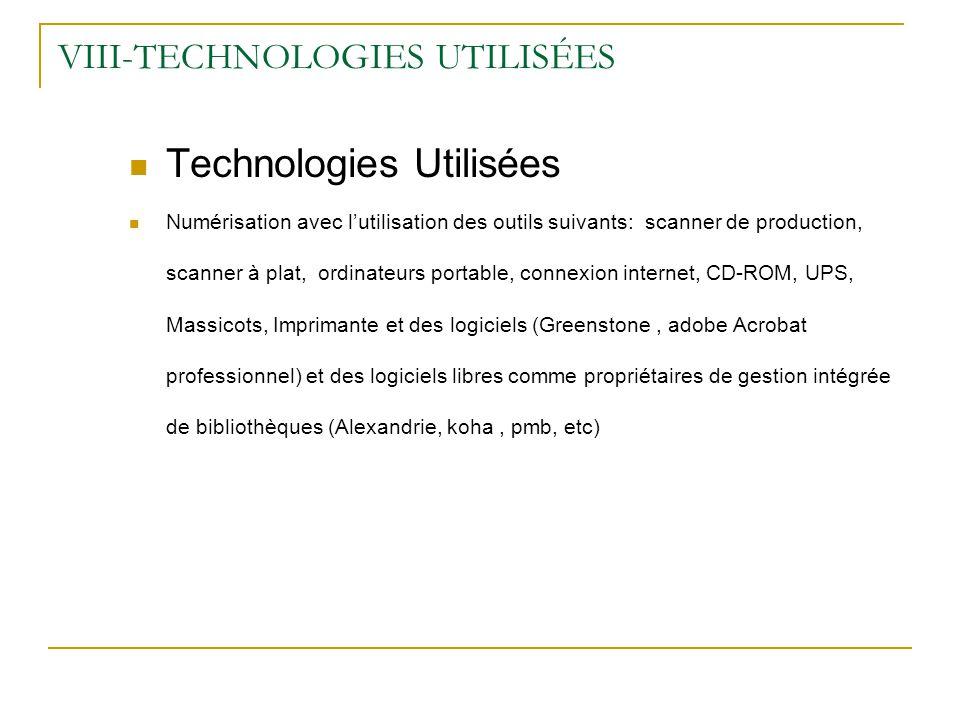 VIII-TECHNOLOGIES UTILISÉES