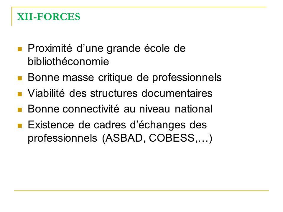 XII-FORCES Proximité d'une grande école de bibliothéconomie. Bonne masse critique de professionnels.