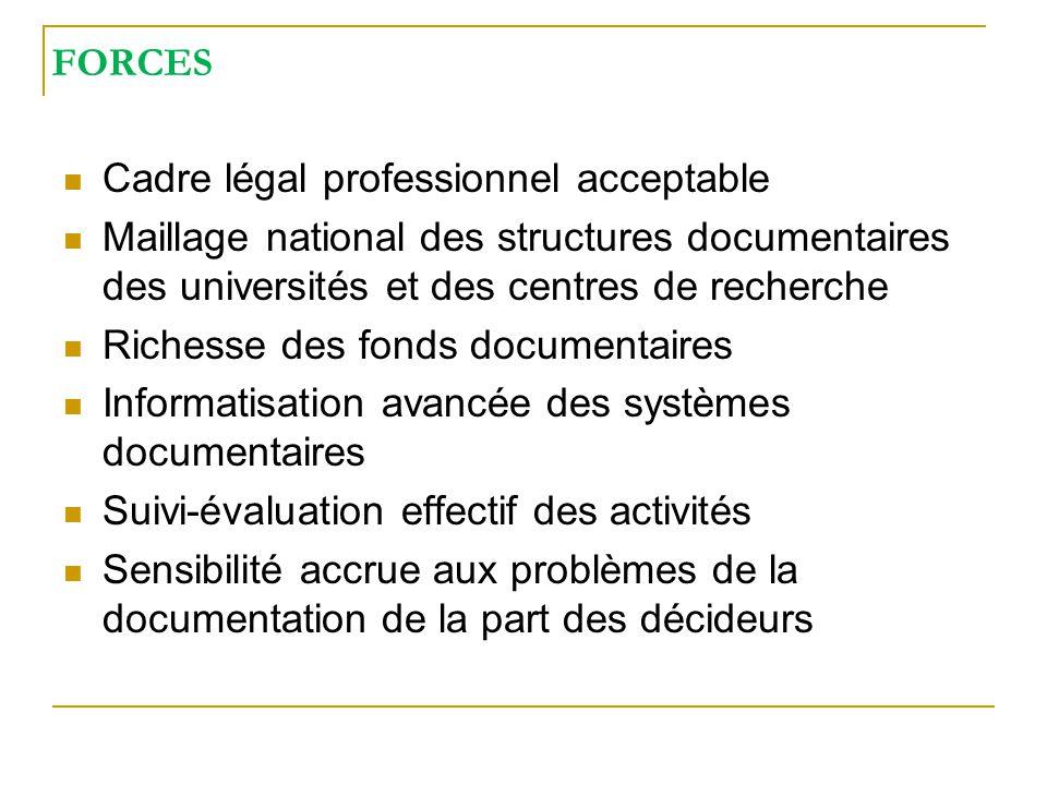 FORCES Cadre légal professionnel acceptable. Maillage national des structures documentaires des universités et des centres de recherche.