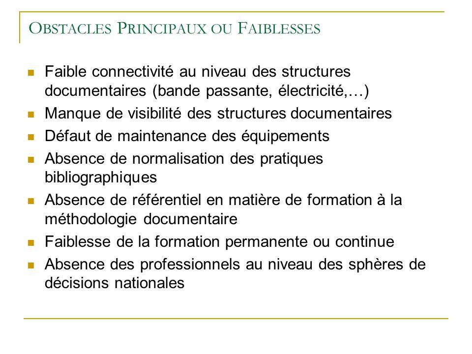 Obstacles Principaux ou Faiblesses