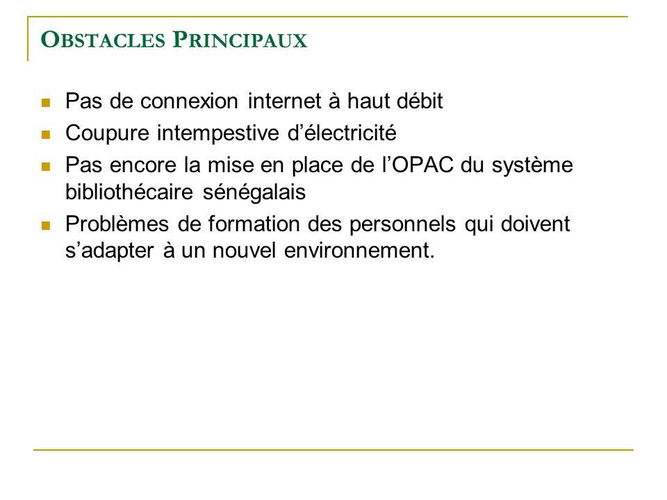 Obstacles Principaux Pas de connexion internet à haut débit