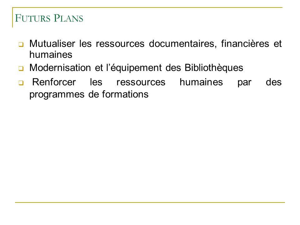 Futurs Plans Mutualiser les ressources documentaires, financières et humaines. Modernisation et l'équipement des Bibliothèques.