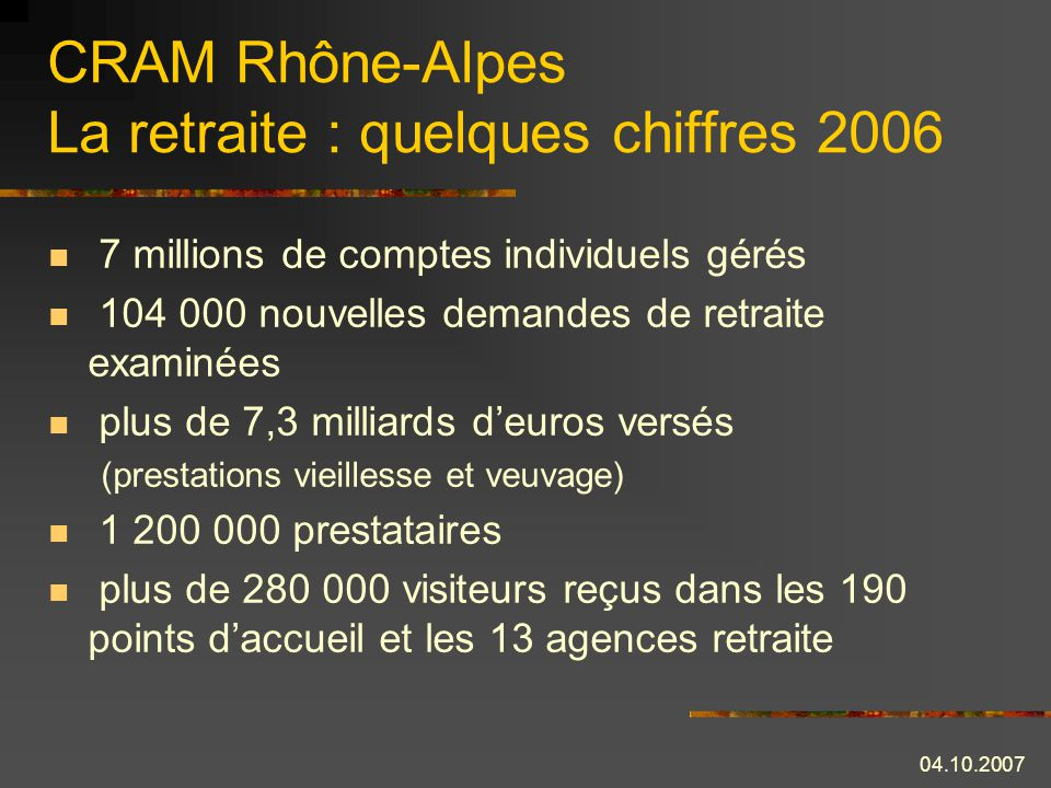 CRAM Rhône-Alpes La retraite : quelques chiffres 2006