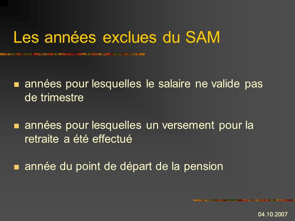 Les années exclues du SAM