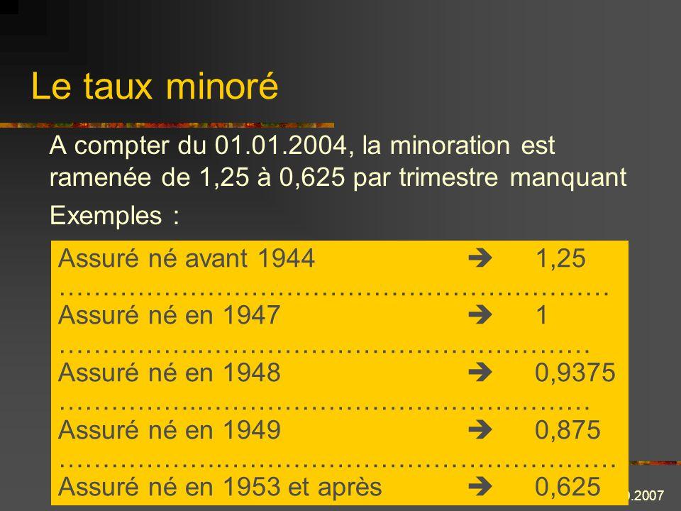 Le taux minoré A compter du 01.01.2004, la minoration est ramenée de 1,25 à 0,625 par trimestre manquant.