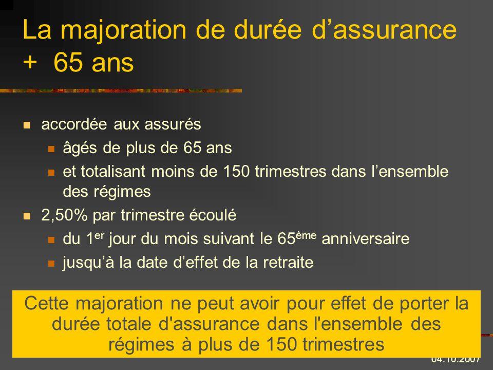 La majoration de durée d'assurance + 65 ans