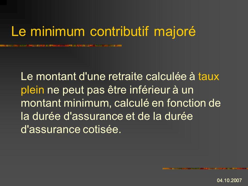 Le minimum contributif majoré