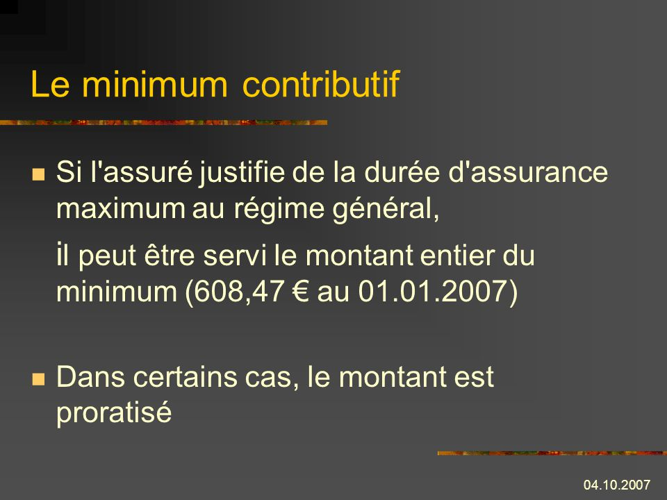 conditions minimum contributif