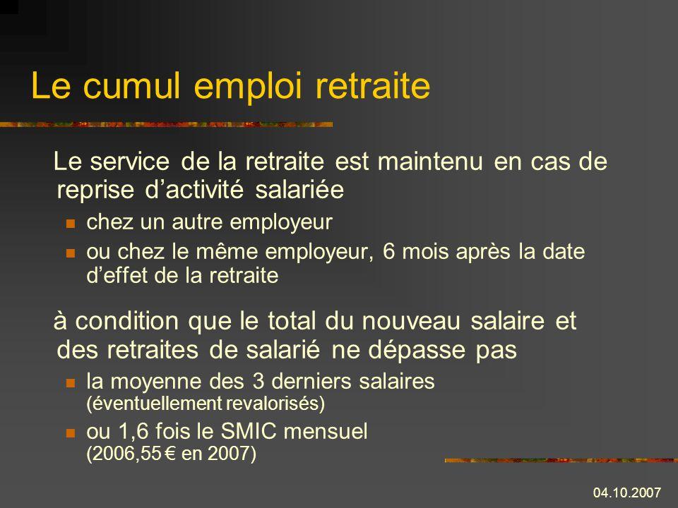Le cumul emploi retraite