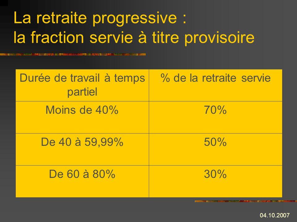 La retraite progressive : la fraction servie à titre provisoire