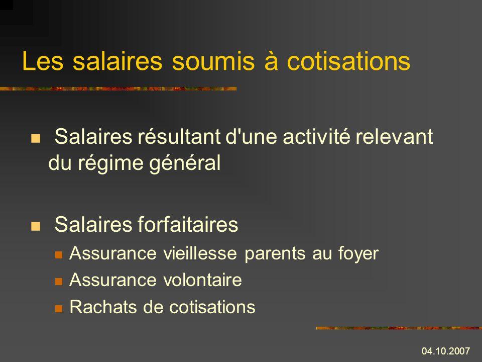 Les salaires soumis à cotisations