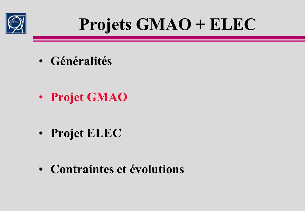 Projets GMAO + ELEC Généralités Projet GMAO Projet ELEC
