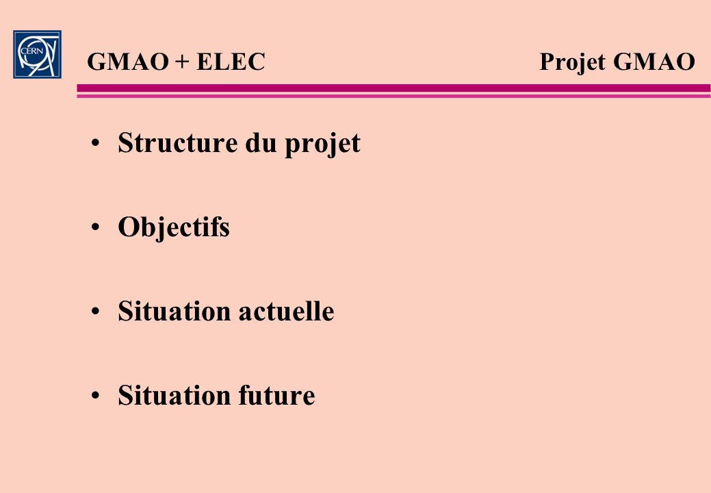 Structure du projet Objectifs Situation actuelle Situation future