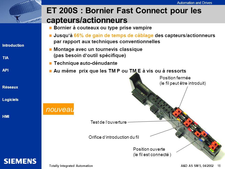 ET 200S : Bornier Fast Connect pour les capteurs/actionneurs