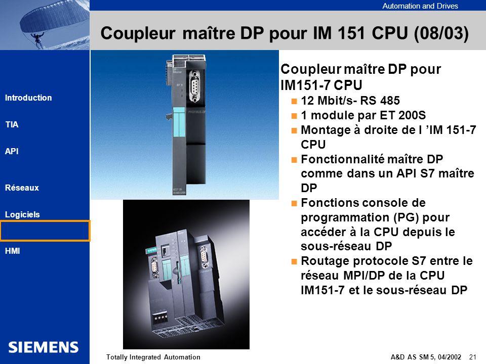 Coupleur maître DP pour IM 151 CPU (08/03)