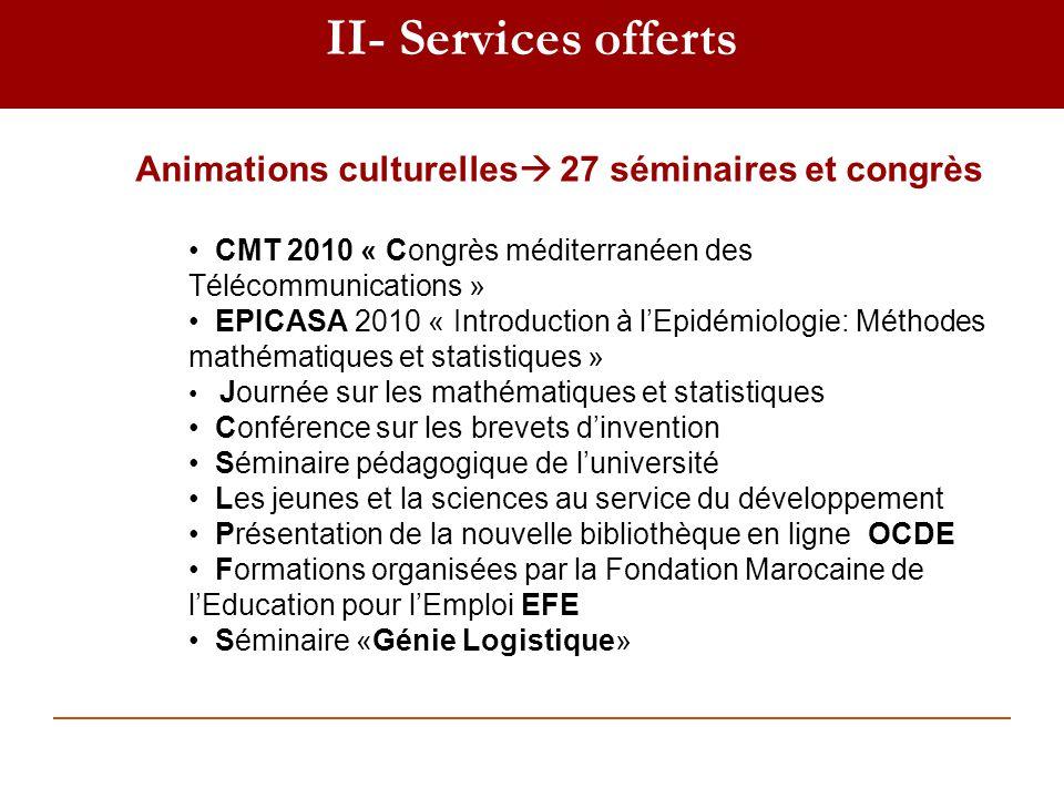 II- Services offerts Animations culturelles 27 séminaires et congrès