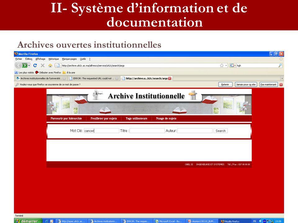 II- Système d'information et de documentation