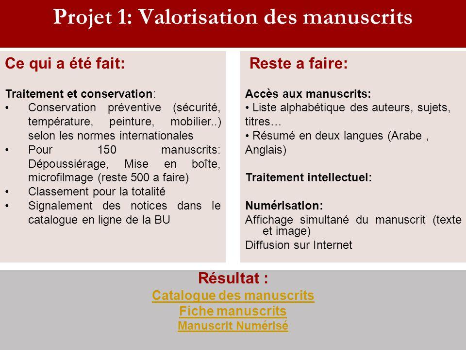 Projet 1: Valorisation des manuscrits