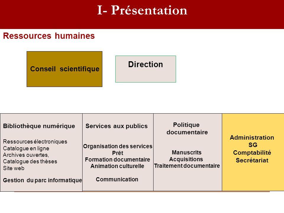 I- Présentation Ressources humaines Direction Conseil scientifique
