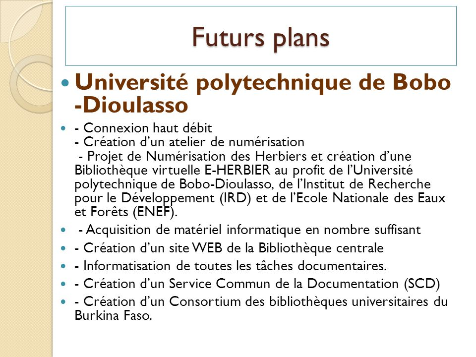 Futurs plans Université polytechnique de Bobo -Dioulasso